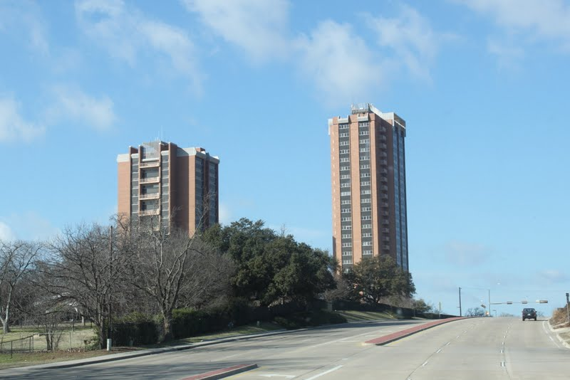 Traveling west we drove through denton tx and saw the two tallest