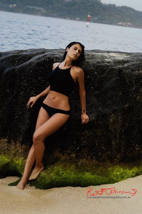 Monica, full length art body shot, Sydney Harbour Fashion Portfolio beach shoot.  Fine Art Photography.