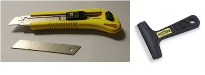 pisau dan glass scraper