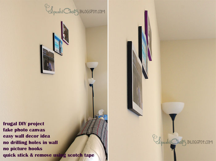 SpushtChats | Inexpensive wall decorating idea for apartment | Faux photo canvas using Thermocol sheet