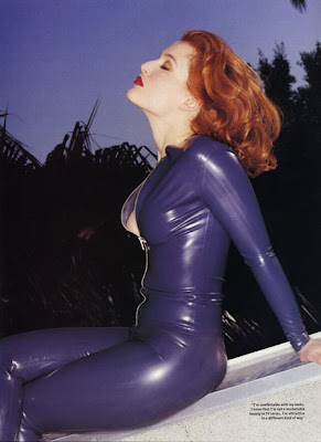 Sultry Redhead Gillian Anderson Tight Blue Latex Catsuit