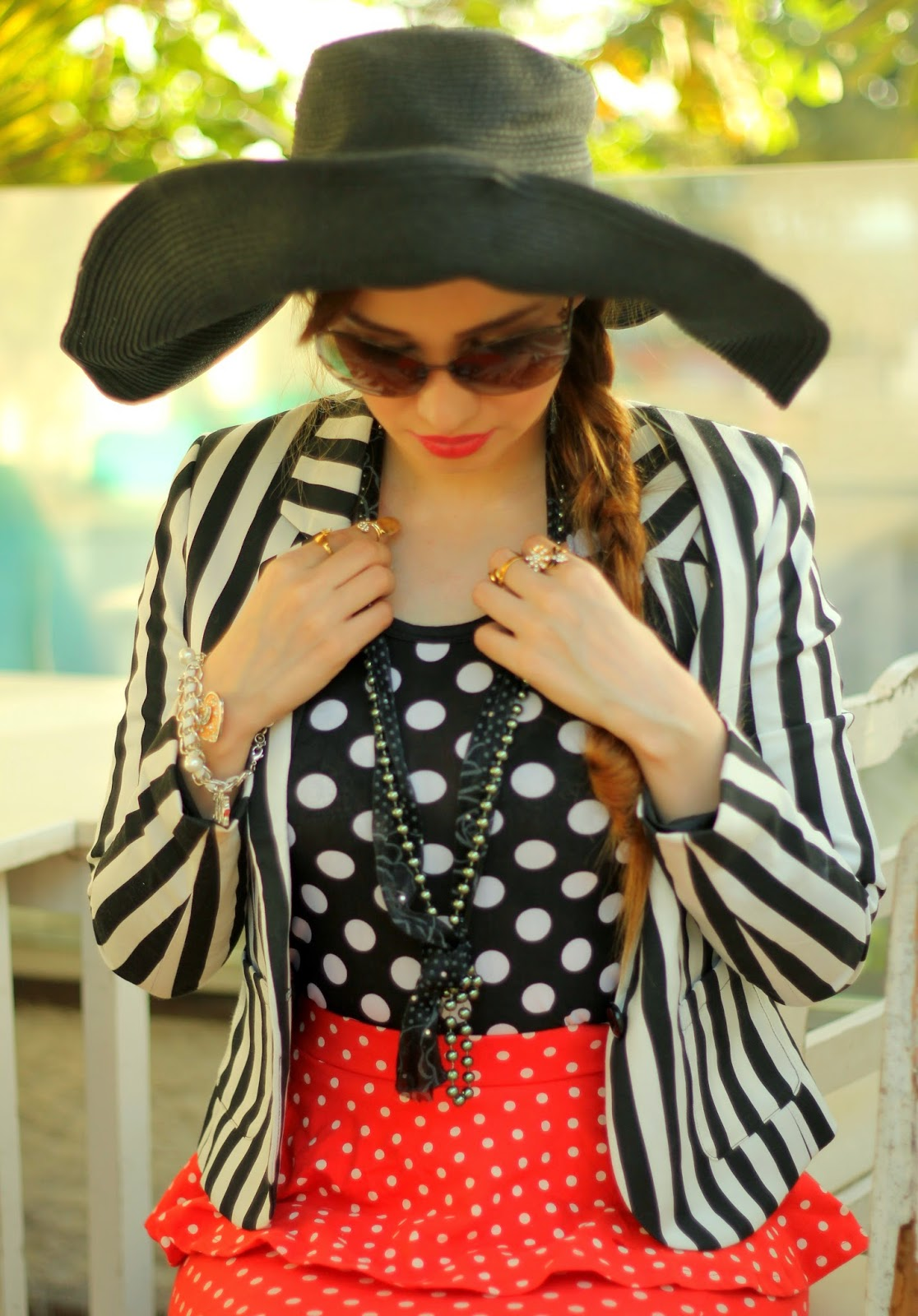Pearl Scarf Necklace,Striped Blazer,Polka dot top & Polka dot skirt