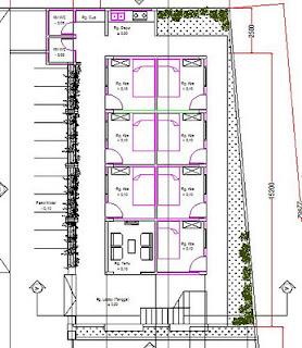 Desain rumah kost minimalis ini terdiri dari 2 lantai. untuk gambar denah di atas adalah gambar denah lantai 1. sedang denah lantai 2 nya tipikal.