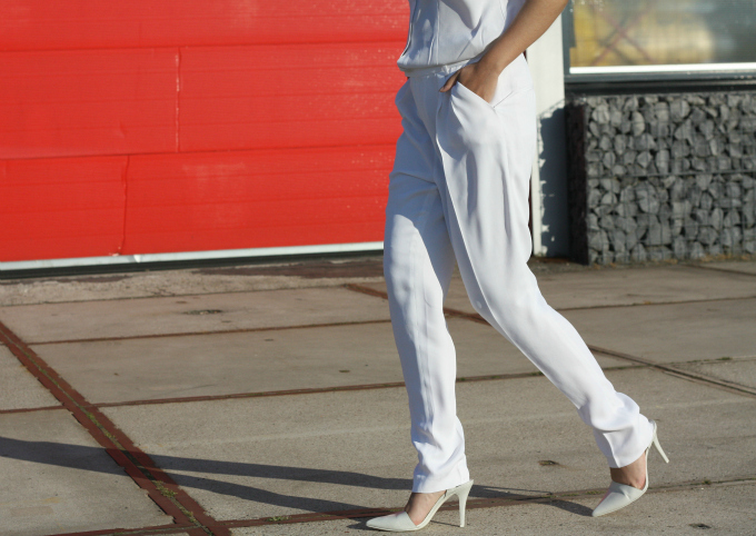 On the street outfit white