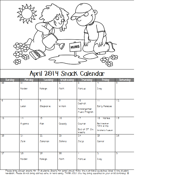 April Calendar S Kindergarten : Mrs pullen s kindergarten class april snack calendar