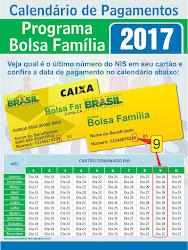CALENDÁRIO DE PAGAMENTOS DO BOLSA FAMÍLIA EM 2017