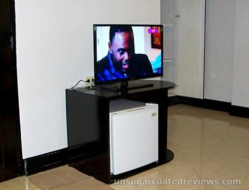 TV and mini refrigerator fridge