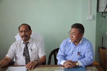 KM vice chairman Jayan Lepcha and health official Dr. SD Zimba addressing the press in Kalimpong on Tuesday.