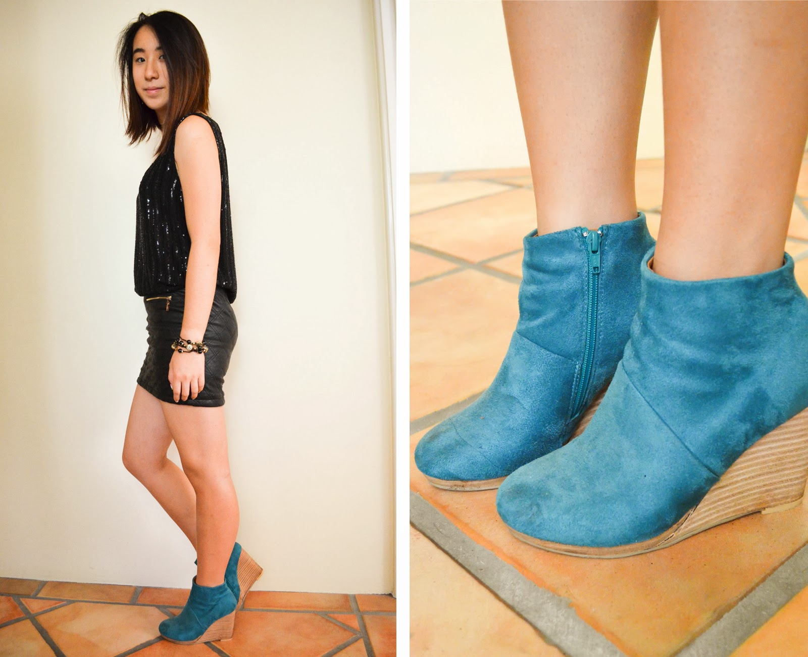 black punk rock grunge leather sequin gold blue boots wedges boot shoes turquoise inspiration outfit look