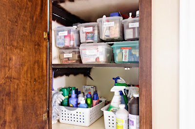 two very neat cabinet shelves, with cleaning supplies and medicines