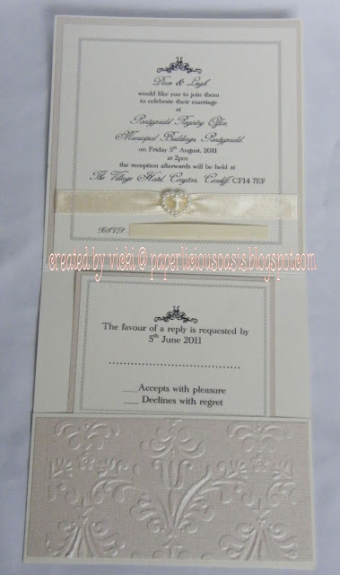A sample of a black and cream gatefold design save the date and wedding