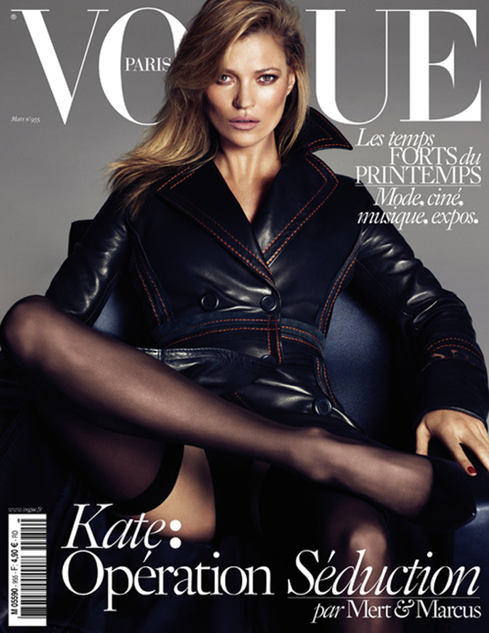 Kate Moss, Daria Werbowy and Lara Stone photographed by Mert & Marcus for the March 2015 issue of Vogue Paris