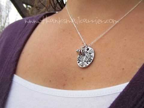 hand stamped tree necklace
