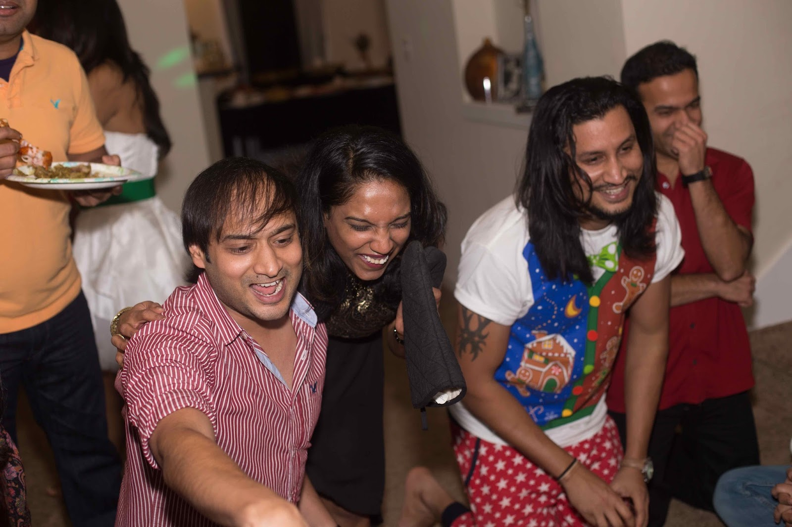 christmas party 2015, house parties, seattle parties, ananya in a party, girls wearing white and red dresses