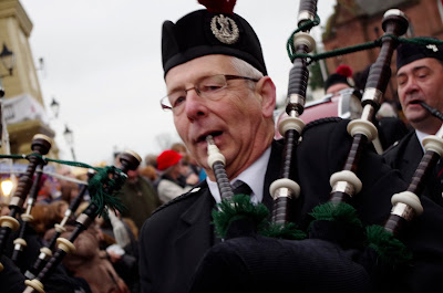 Bag pipe player in the Ulverston Dickensian Festival Parade