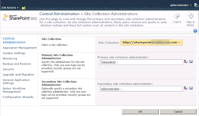 sharepoint 2010 change primary, secondary site collection administrator