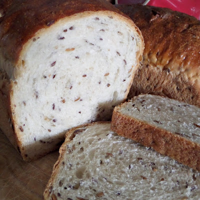 Flax and Sunflower Seed Sandwich Bread:  A delicious and soft white sandwich bread studded with two kinds of seeds.