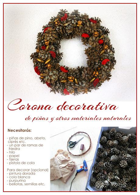 DIY corona navideña con piñas naturales