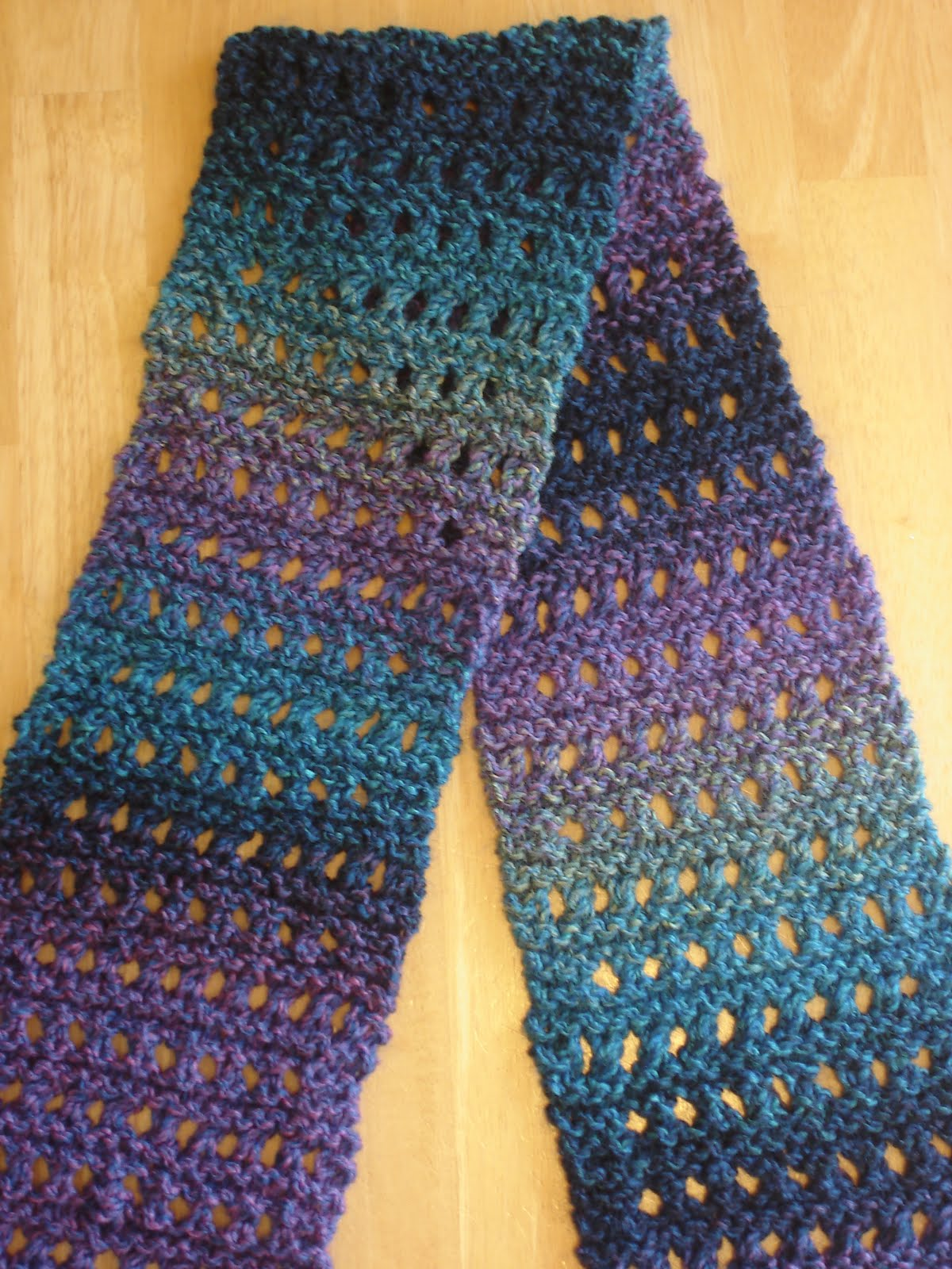 Easy Knitting Stitches Scarves : Fiber Flux: Free Knitting Pattern: Tweedy Eyelet Scarf!