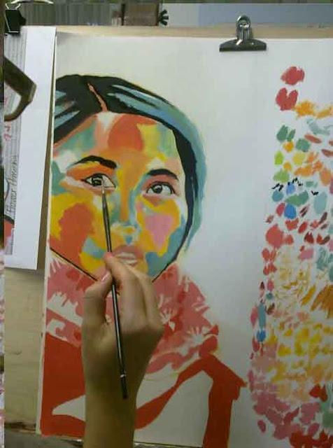 proceso de retrato perfilando en negro