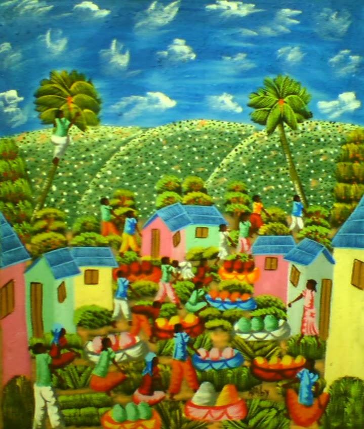Haitianarts quadro villaggio palme da cocco