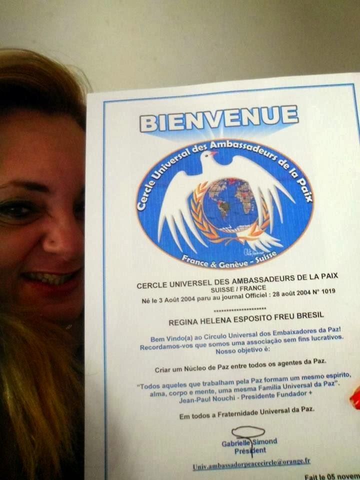 Meu Certificado de Embaixadora da Paz...