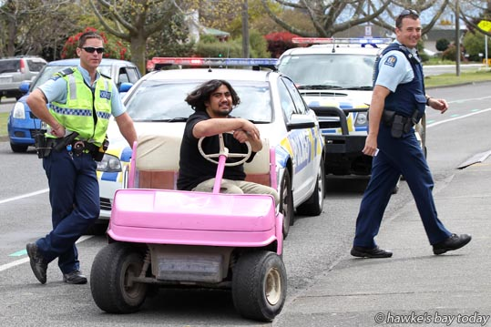 Police pulled over a pink golf cart on Flaxmere Ave, Flaxmere, Hastings, for being unregistered and being used on a public road. They subsequently found out it had been stolen two weeks ago from the Maraenui Golf Course, Napier. photograph