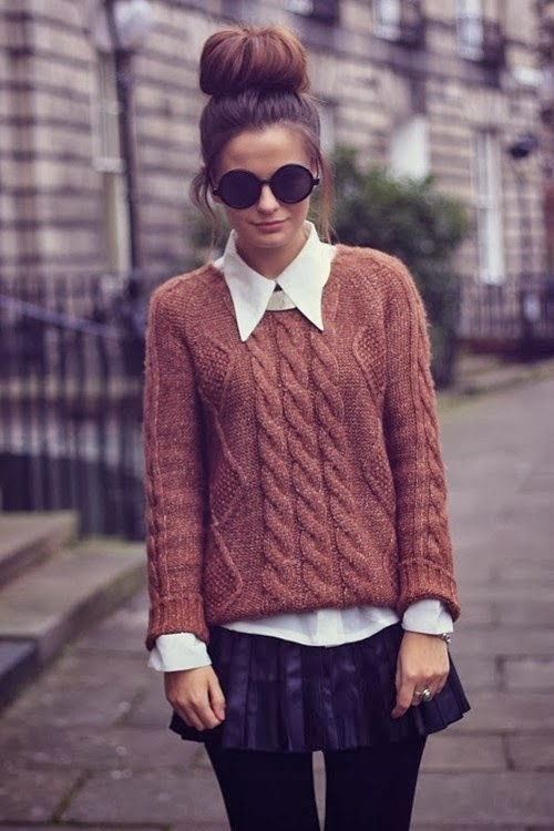 Stylish Brown Sweater with White Classic Shirt, MIni Skirt, Black Panty Stockings and Modern Round Glasses, Fashion for Fall