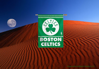 Desktop Wallpapers Boston Celtics Flag Logo in Red Moon Desert Desktop wallpaper