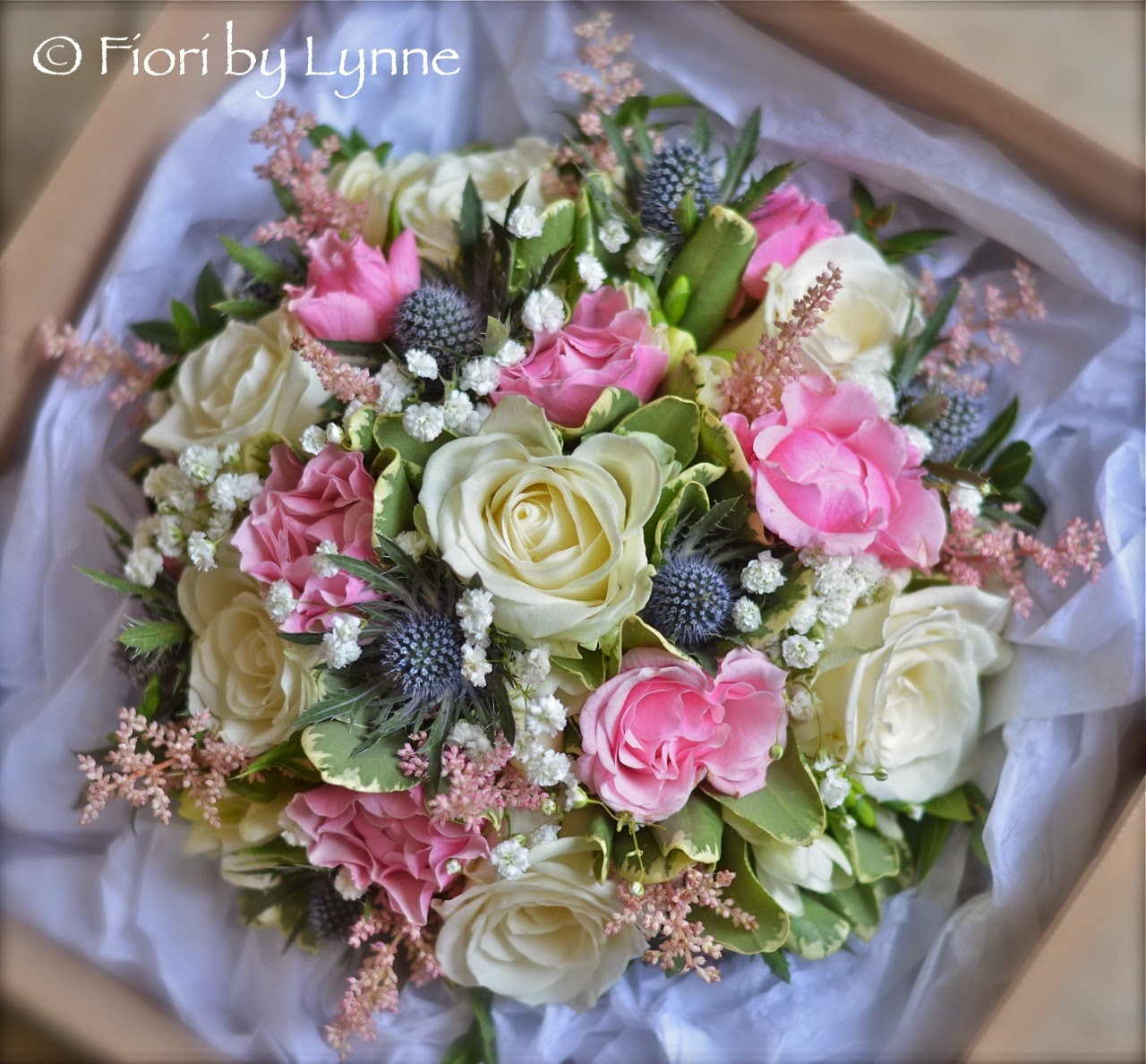 Pink Blue And White Wedding Bouquets : Wedding flowers emma s summery thistle bouquet in