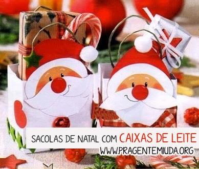 Sacolas de natal feitas com reciclagem de caixas de leite
