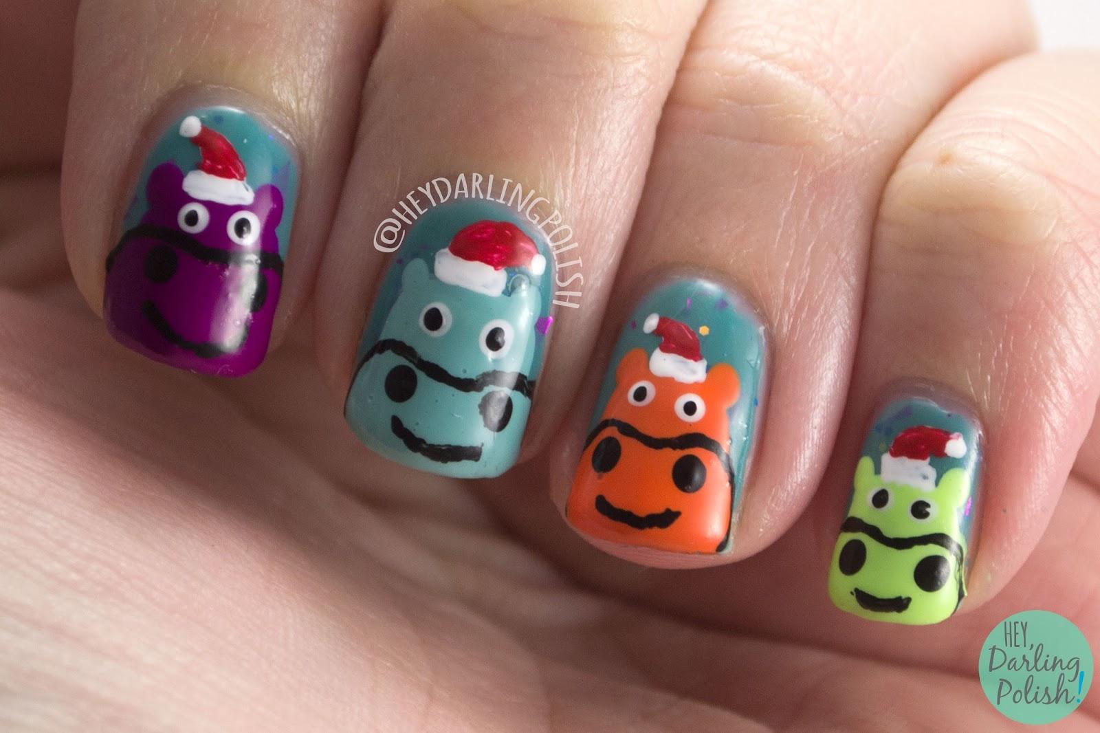nails, nail art, nail polish, hey darling polish, christmas, christmas nail art, hippo, hippopotamus, the nail art guild, free hand