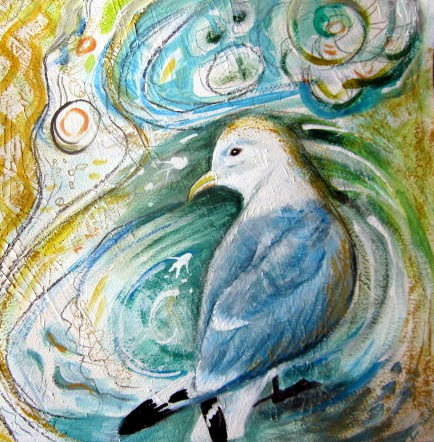 sea gull painting, bird art, mixed media art, art for sale,