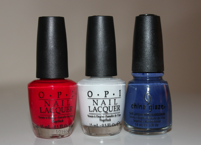 OPI Color So Hot It Berns OPI Alpine Snow China Glaze First Mate Fourth of July 4th of July nails nail polish manicure