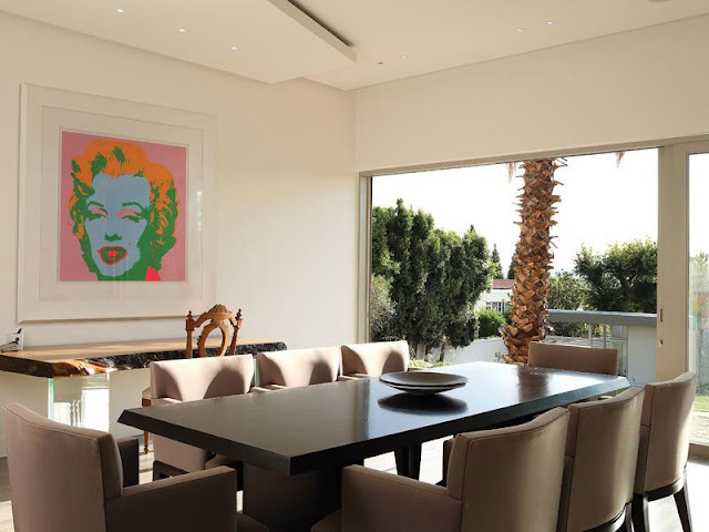 Nice dining room with black table
