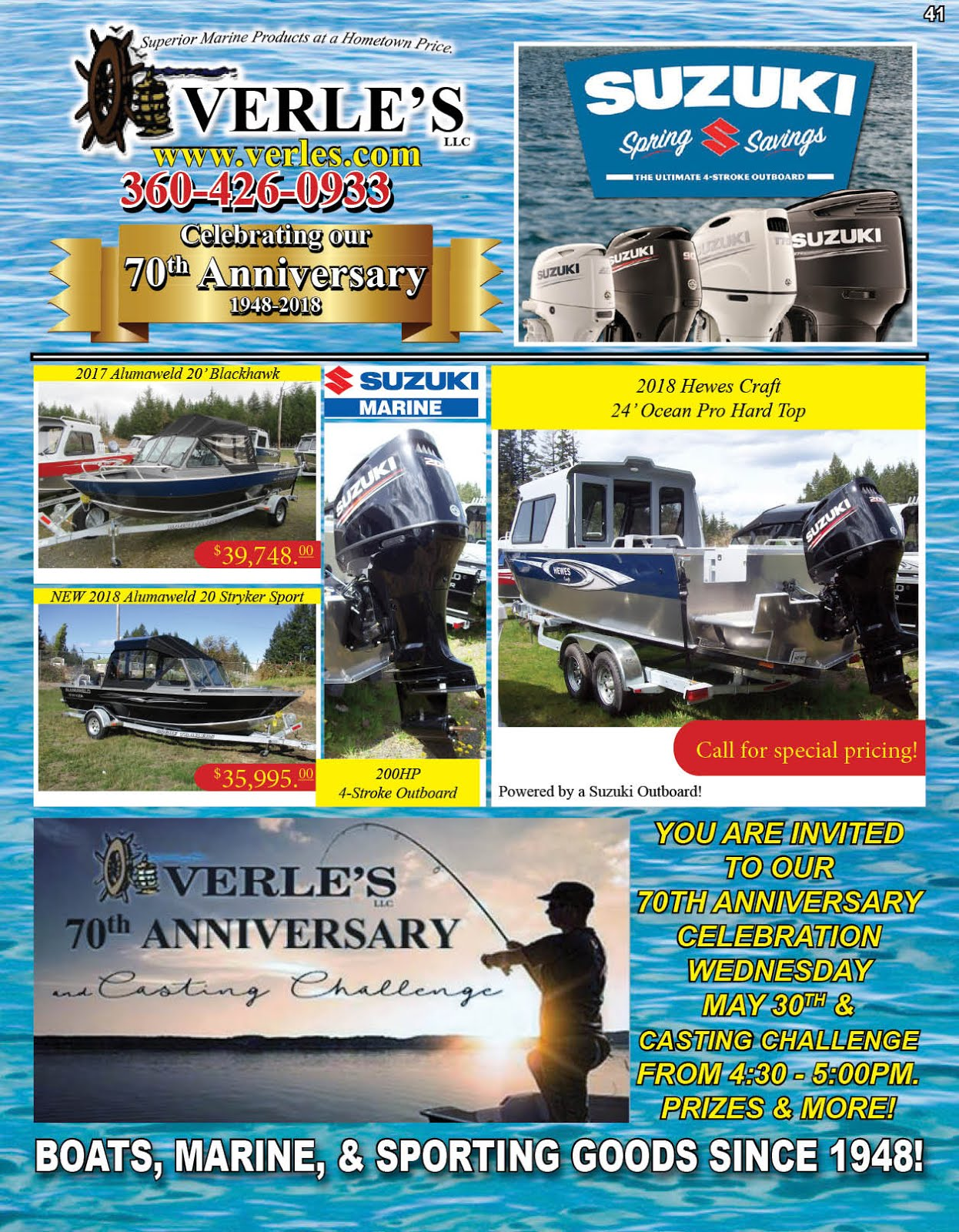 Verles llc. Celebrating Our 70th Anniversary! Specials On Boats Marine Gear Tackle Guns Ammo!!