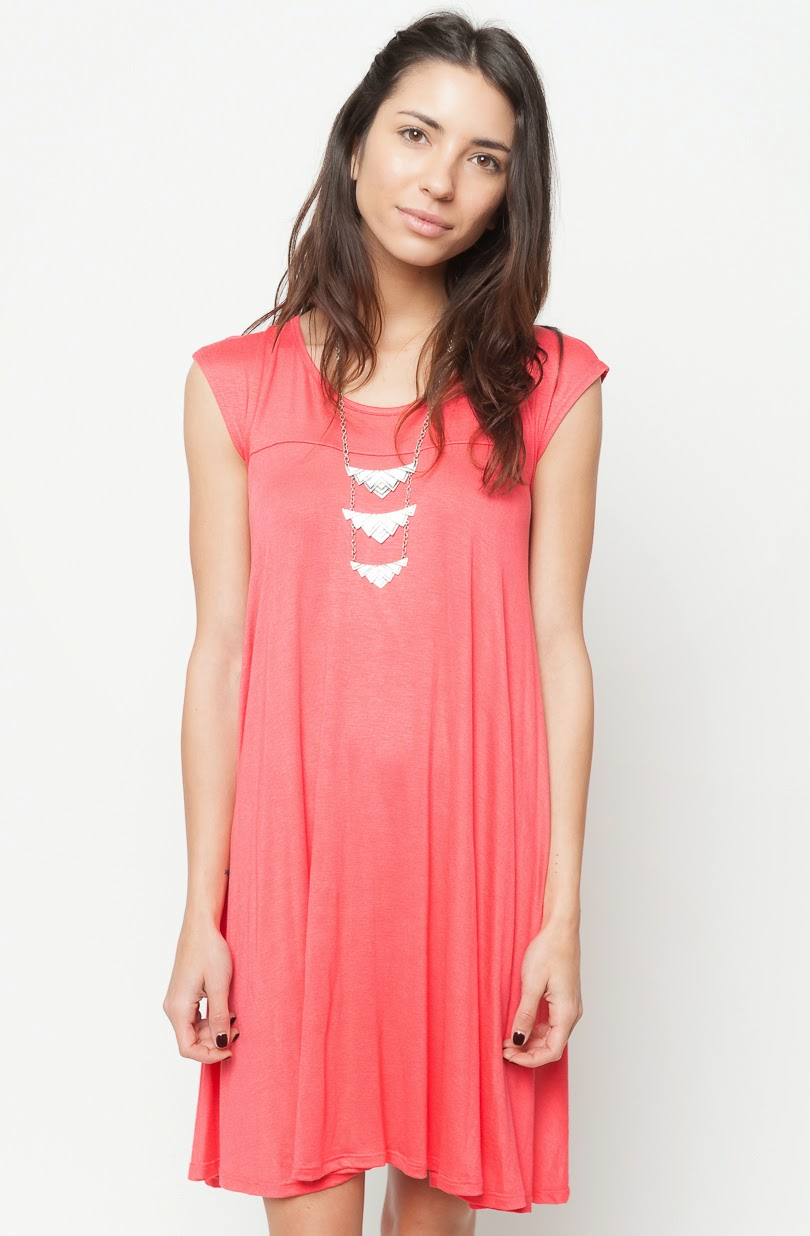 Buy online jersey cap sleeve dress tunic for women on sale at caralase.com