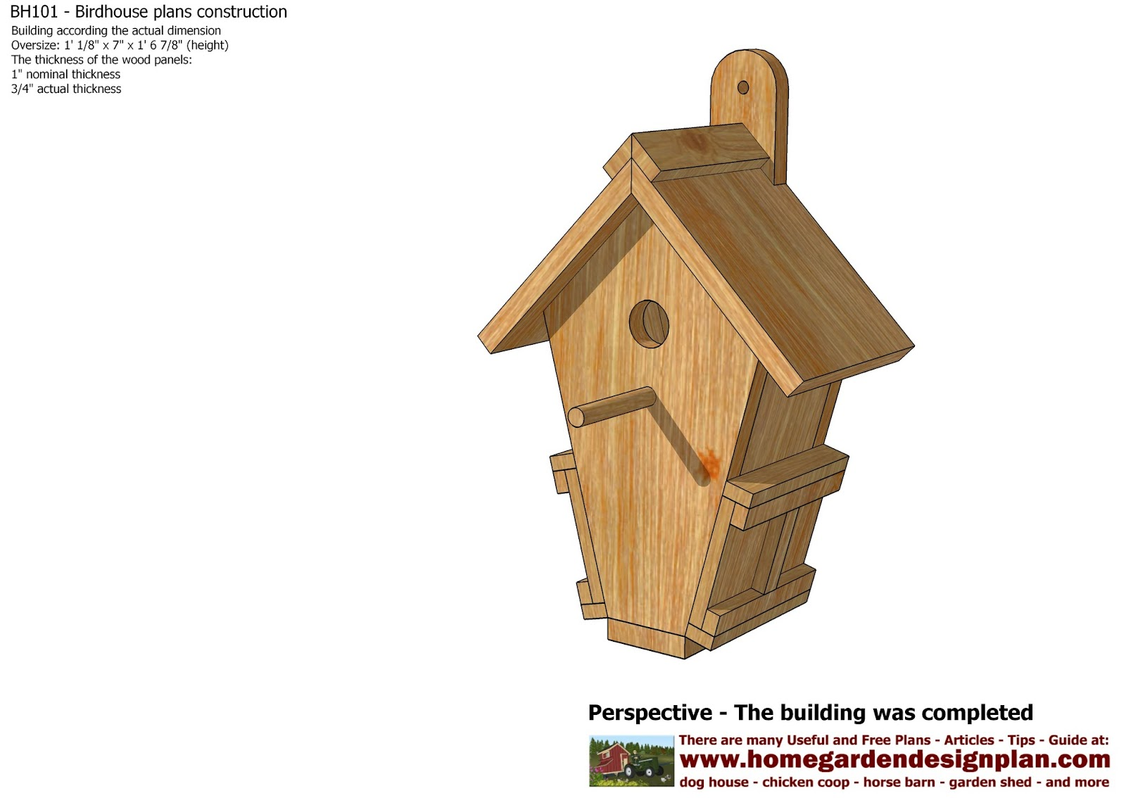 home garden plans BH101 Bird House Plans Construction Bird
