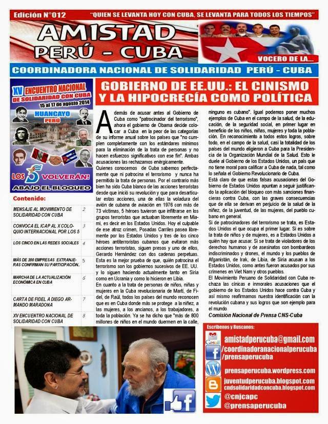 "BOLETÍN N°012 ""AMISTAD PERÚ CUBA"""