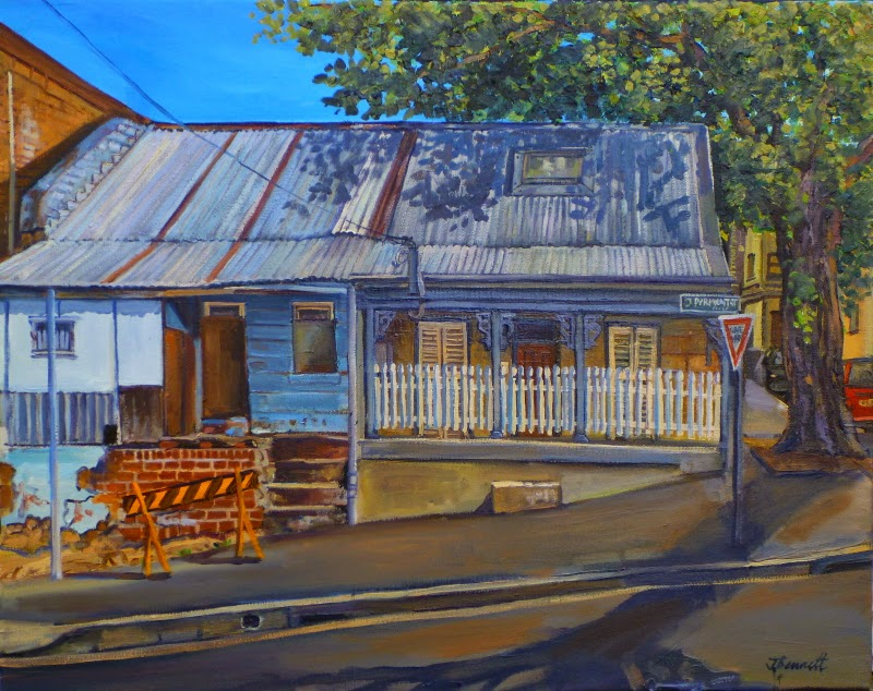 plein air oil painting of Pyrmont workers cottages by artist Jane Bennett