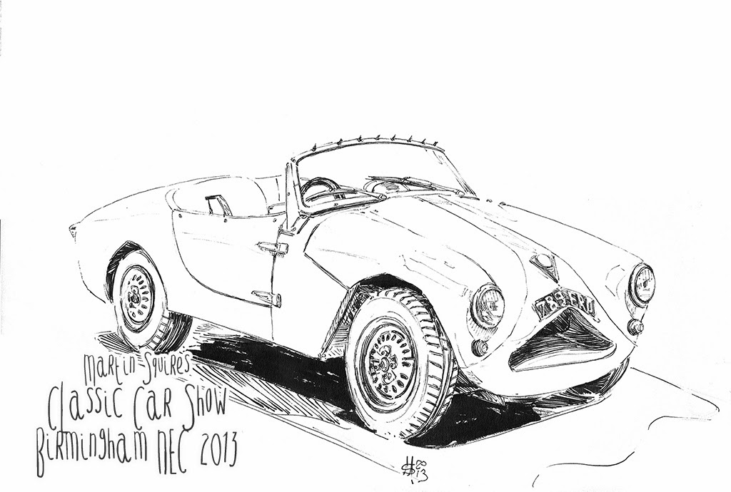 martin squires automotive illustration  classic car and