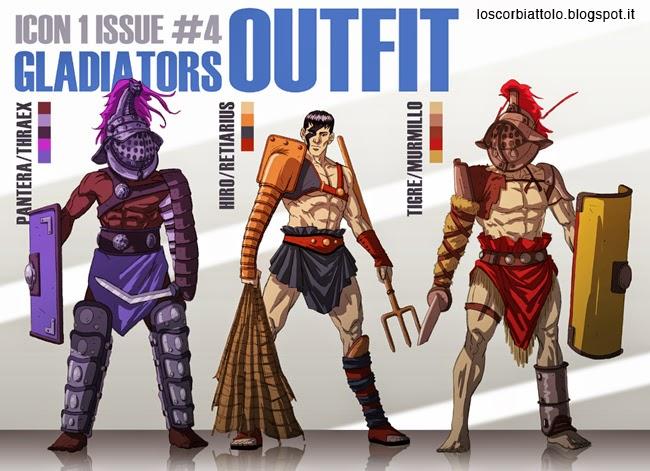 icon 1 e la squadra alpha character design hiro studio di personaggi gladiatori tharaex murmillo retiarius mirko treccani