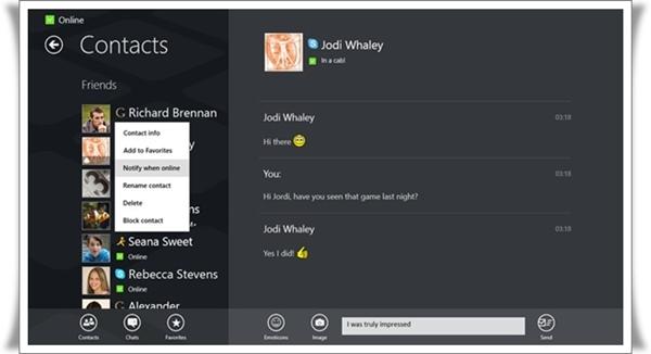 Tampilan aplikasi IM+ untuk Windows 8