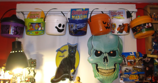 skully the vintage cardboard cutout and midnight the black cat are permanent residents as are the collection of mcdonalds trick or treat pails scooby doo - Scooby Doo Halloween Decorations