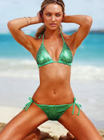 Candice Swanepol wearing sexy irish green bikini