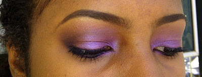 GlamorousGia makeup look purple color on dark skin black girl using Milani, Black Opal, Sephora and more.