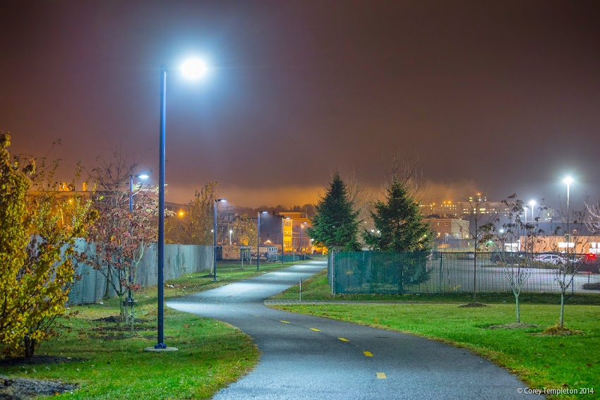 Bayside Trail on a foggy night in Portland, Maine November 2014 photo by Corey Templeton