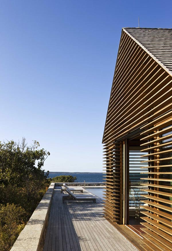 Fachada interior moderna  casa de playa -New England