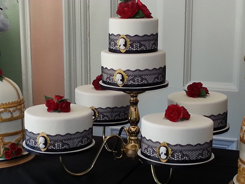 Each Cake Was Design With Edible Black Lace Skulls Cameo Brooches And Deep Red Gumpaste Roses