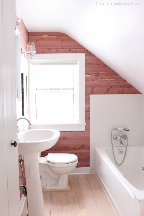 diy bathroom makeover cedar planked walls